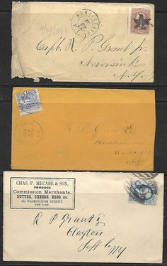 Vintage 3 -1863-68 - 19th CENTURY COVERS,  # 65 - 3¢ Wash, #114 -3¢, #206 - 1¢ F