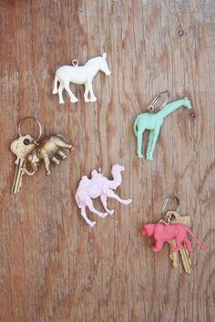 sleutelhanger plastiek diertjes