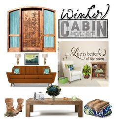 Winter Cabin: Rustik Modern by saifai on Polyvore featuring interior, interiors, interior design, home, home decor, interior decorating, Joybird Furniture, Flamant, Home Decorators Collection and Vera Bradley