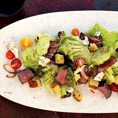 Filet Mignon With Roquefort and Red Leaf:  This salad provides a rich flavor with the deliciously pungent cheese and filet mignon. You'll also get iron, protein, and plenty of veggies in each bite. Get the recipe | Health.com