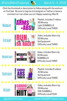 2018 March Week TEN, FREE Workout Plan to get you fit and keep you motivated! 5 Day Workout Plan, Weekly Workout Plans, Exercise Plans, Fun Workouts, At Home Workouts, How To Become Vegan, Healthy Body Weight, Low Impact Workout, How To Slim Down