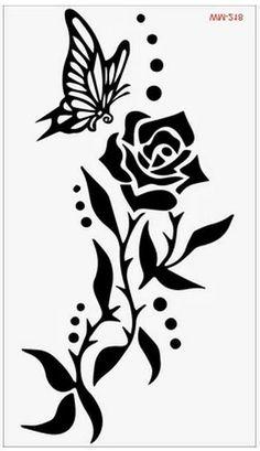 Rose Stencil, Stencil Art, Full Sleeve Tattoos, Tattoo Sleeve Designs, Stencil Patterns, Stencil Designs, Hawaiian Tattoo, Silhouette Art, Tattoo Drawings