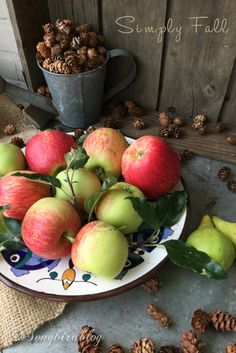 Apples on a plate and scattered pine cones. Simply Fall at Songbirdblog