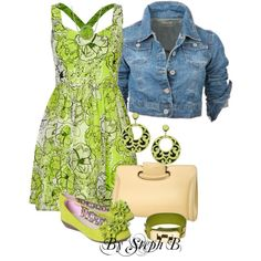 """""""Denim and green"""" by stephaniebeckette on Polyvore"""