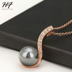 Hot Sale Black Imitation Pearl Pendant Necklace Rose Gold Plated Fashion Brand Jewellery/Jewelry For Women N435