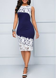 Bodycon Dresses Lace Panel Back Slit Blue Tank Dress Latest African Fashion Dresses, African Dresses For Women, Women's Fashion Dresses, Elegant Dresses Classy, Classy Dress, Lace Dress Styles, Classy Work Outfits, Lace Dress With Sleeves, Chic Dress