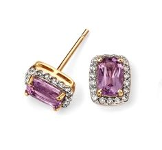 9ct Elements Yellow Gold and Amethyst Cushion Earrings