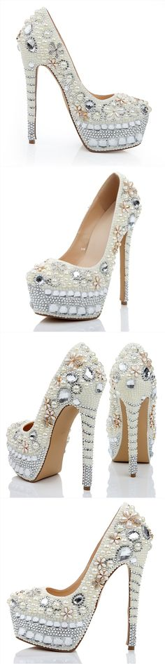 Cut Price High Heel Sex Close Toed Girl Leather Bride Heeled Pearls Antique Tap…
