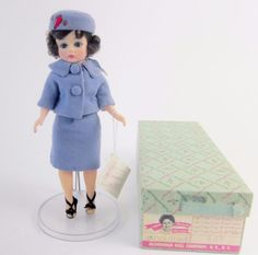 Part of Camelot history, 1962 Madame Alexander #CissetteJacqueline Jackie Kennedy Fashion Doll in her classic blue wool suit with matching iconic #pillboxhat. Original box too!
