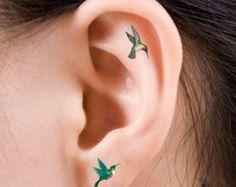 tiny hummingbird tattoo ear - Google Search
