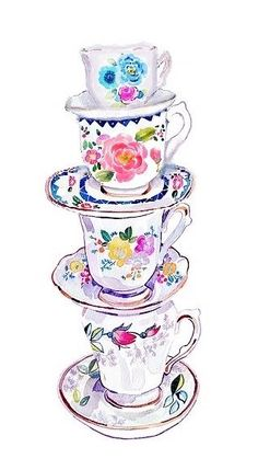 Teacups and saucers, watercolor painting. Artist unknown - Please tell us if you know the artist!