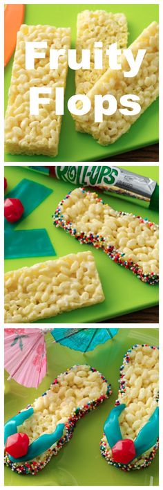 Flip flop treats made with Fruit Roll Ups & Rice Crispy Treats! This is such a fun dessert to make with kids! Rice Krispies, Krispie Treats, Cute Food, Yummy Food, Fruit Roll Ups, Summer Treats, Summer Deserts, Summer Cakes, Luau Party
