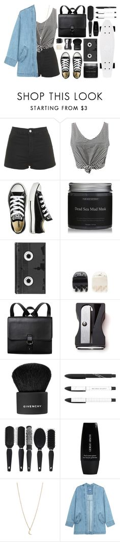 """""""Denim & Stripes"""" by isthelastofus ❤ liked on Polyvore featuring Topshop, WithChic, Converse, Luckies, Forever 21, Monki, Monkey Business, Givenchy, Giorgio Armani and Minor Obsessions"""