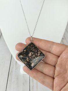 Large Natural Dendrite Vein Rhodonite Stone Crystal Pendant | Etsy