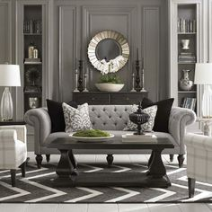 Classic Home Decor Ideas ~ Accent Chair/ Chesterfield sofa. Maybe it's the English woman in me but this sofa spells comfort, home, elegance and good design. LOVE those cushions too. Formal Living Rooms, Home Living Room, Living Room Designs, Living Room Decor, Living Spaces, Classic Interior, Home Interior, Gray Interior, Living Room Inspiration