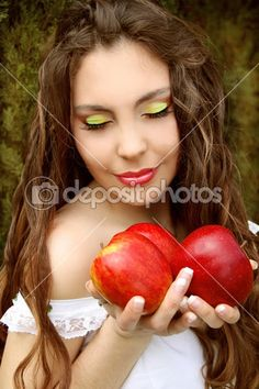 Portrait of Pretty young woman with three red apples. — Stock Image #13655838