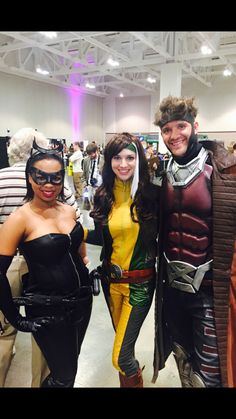 Catwoman, Rouge, and Gambit cosplay