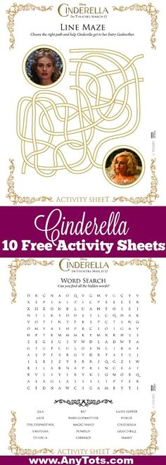 Cinderella Free Printable. 10 free Cinderella Activity Sheets including Free Cinderella Word Search, Free Cinderella Maze, Cinderella Connect the Dots, Free Cinderella Craft Ideas and Free Cinderella Games of Memory Cards and Spot the Difference. www.anytots.com
