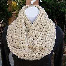 INFINITY SCARF Loop Cowl Solid Light Beige Dark Cream Crochet Knit Winter Circle