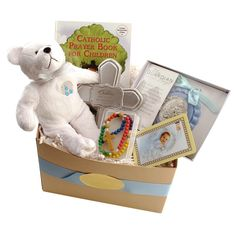 Catholic Baptism Gift Basket for Baby Boy, $59.95.