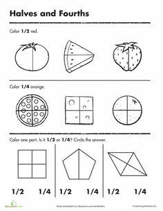 Worksheets: Beginning Fractions: Halves & Fourths
