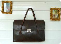 Vintage 30er 40er Leder Tasche Bag Handtasche Tragetasche Schultertasche Mad Men | eBay