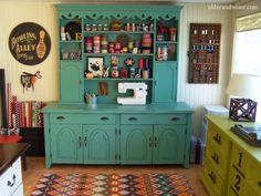 Before: $ 75 Craig's List hutch / After: fabulous craft storage!