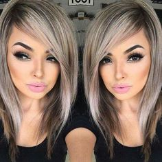 Ash colored hair with lowlights, side swept long bang