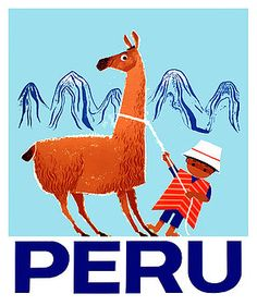 "Vintage and whimsical 1950's travel poster depicting a reluctant llama and handler in the Andes mountain range.  peru, llama, guanaco, vicuna, andes, andean, ""vintage poster"", inca, ""Machu Picchu"", cusco, ephemera, retro,"