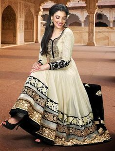 $141.06 Cream Zardosi with Sequins Work Faux Georgette Anarkali Salwar Suit 25856