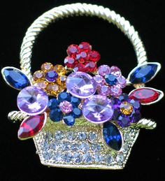 """GOLD RHINESTONE SPRING MOTHER'S DAY EASTER BOUQUETS FLOWER BASKET PIN BROOCH 2"""" #Unbranded #PINBROOCHJEWELRY"""