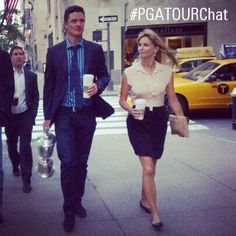 Justin and Kate Rose on the U.S. Open media tour in NYC