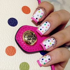 White background colourful dots pink French tip dotting dots #nails DIY NAIL ART DESIGNS