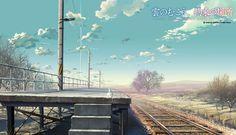 Tags: Anime, Mountains, Scenery, Nature, Kumo no Mukou Yakusoku no Basho, Makoto Shinkai, Train Station