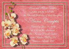 Coral Orchids Invitation Announcement for Wedding by TerraCosmos--etsy.com $2.99