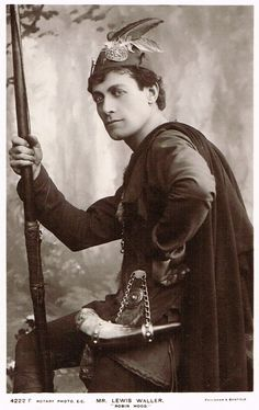 """1906 play """"Robin Hood"""" Lewis Waller, first at Windsor, then at Nottingham Theatre Royal (September, which drew big audience both for its local association and the popular actor's magnificent performance of the title role. Sherwood Forrest, Wolf's Head, The Three Musketeers, Outlaw Queen, Cover Art, Vintage Outfits, Horror, Fantasy, Film"""