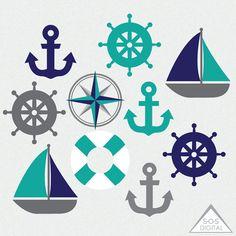 Boat Wedding, Nautical Wedding, Anchor Clip Art, Nautical Clipart, Boat Cartoon, Beach Quilt, Little Pony Birthday Party, Simple Cartoon, Coordinating Colors