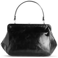 Ann Demeulemeester Medium Leather Bag ($1,195) ❤ liked on Polyvore featuring bags, handbags, black, leather purse bag, leather hand bags, handbags purses, genuine leather handbags and leather bags