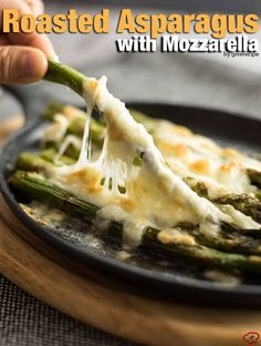 Roasted Asparagus with Mozzarella makes a perfect appetizer or side to serve with anything any time. Noone can resist that stretching cheese!