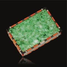 Jade, coral, mother-of-pearl, enamel and diamond compact, Cartier