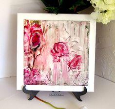 Cottage Chic Decor  Romantic Rose Art  12x12  pink by StudioSabine, $60.00