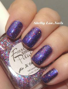 Freak Show Polish Fire In The Sky from Llarowe's A Box, Indied for January 2013, shown over OPI Tomorrow Never Dies