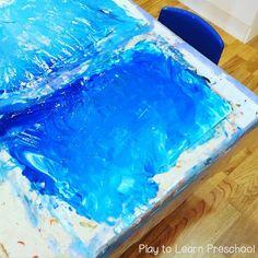 Polar Bear Process Art (Play to Learn Preschool) Preschool Art Projects, Preschool Learning Activities, Preschool Activities, Winter Activities, Preschool Curriculum, Kindergarten, Polar Bear Paint, Letter D Crafts, Polar Animals