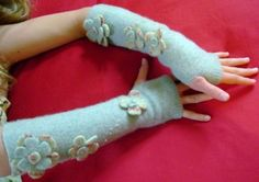 Upcycled Felted Arm Warmers @Keely Hamilton Hamilton Massie, you said you wanted arm warmers!!