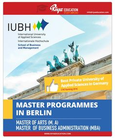 Study Master Programs in IUBH, Berlin. Visit Riya Education website for contact details. #overseas education #study in germany