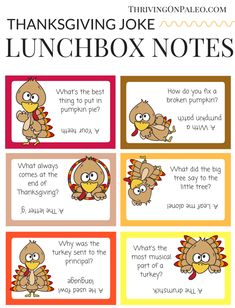 Thanksgiving Joke Lunchbox Notes