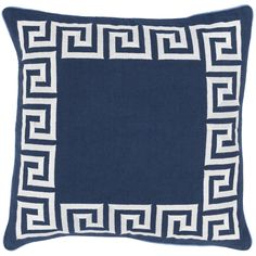Greek Key Pillow in Navy and Ivory-Available in Three Different Sizes. Product in photo is from www.wellappointedhouse.com
