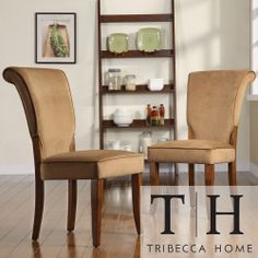 TRIBECCA HOME Andorra Peat Velvet Upholstered Dining Chair (Set of 2)   Overstock.com Shopping - Great Deals on Tribecca Home Dining Chairs