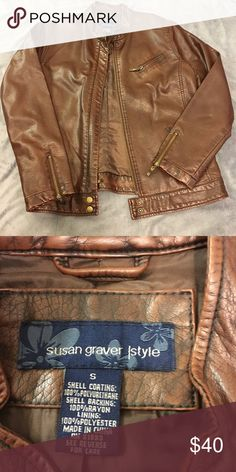 Brown Leather Jacket Good condition. No flaws. Susan Graver Jackets & Coats