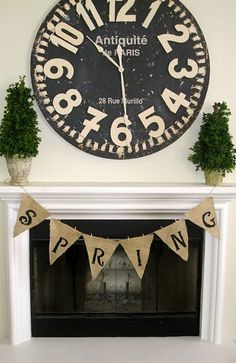 Burlap Spring Mantle and Banner/ Love the stark black and white.